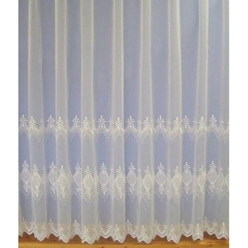 lara white embroidered voile net curtain made to measure. Black Bedroom Furniture Sets. Home Design Ideas